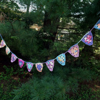 Crochet Bunting  Flags  Pennants  white purple pink  by Parachet