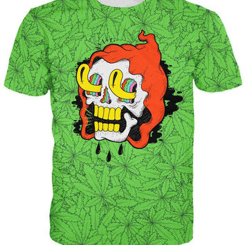 Women Men Druidz T-Shirt hooded skull tripping on a piles of pot leaves weed lea