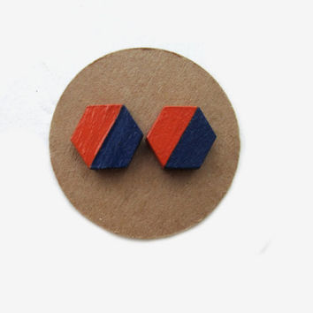 Auburn Wooden Hexagon Orange Blue Gameday Earrings // Orange and Blue // Wooden Earrings // Auburn Earrings // SEC // Auburn Football