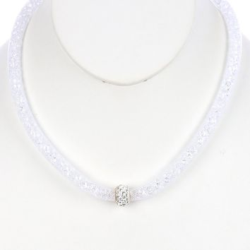 White Barrel Bead Charm Mesh Cord Necklace