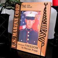 "U.S. Marine Corp Solid Wood Frame 8"" x 10"" Outside, Displays 5"" x 7"" Photo"