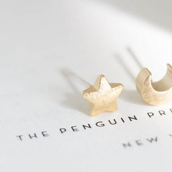 1 PCS-S020 2017 Cute Earrings Fashion Jewelry New Gold Teens Moon and Star Stud Earrings for Women Silver