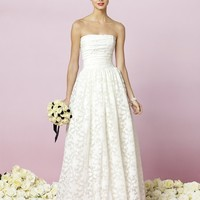 Strapless lace dress with shirred bodice and full shirred skirt Wedding Dress - Basadress.com