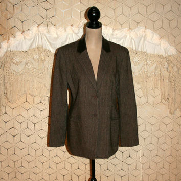 Vintage Womens Blazer Jacket Brown Wool Jacket Tweed Jacket Fall Clothing Velvet Collar Fitted Blazer Size 12 Jacket Large Vintage Clothing