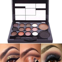 14 Color New Makeup Women Natural Warm Eyeshadow+Blush Palette Set with Brush (Size: 12cm by 8cm by 1.2cm) = 1945825412