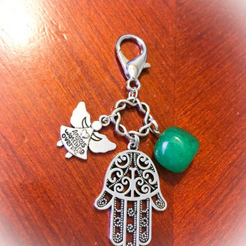 Pretty Green Jade, Angels Watching Me and Hamsa Hand Good Luck  w/ Free and Abundance Purse Clip Bag & Message Card.Healing Energy
