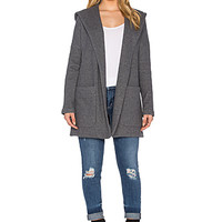 French Terry Hooded Coat in Heather Charcoal