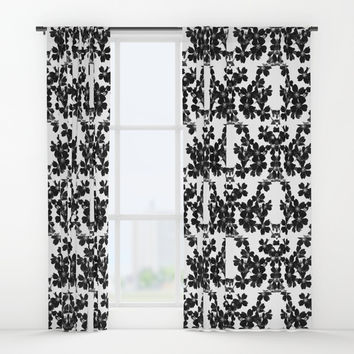 primrose bw pattern Window Curtains by ARTbyJWP