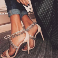 Womens T Strap Diamonds Tassel Sexy Sandals Hollow Up High Heel Leather Shoes