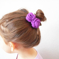 Double Rose Hair Clip Barrette in Violet, ready to ship.