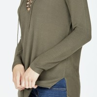 Lightweight Lace Up Pullover