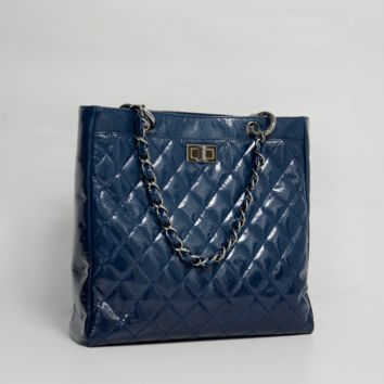 Chanel Blue Small Diamond Shine Reissue Tote
