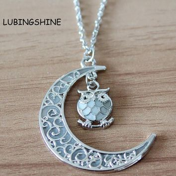 Glow In The Dark Moon Owl Pendant Necklace
