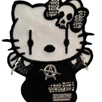 Gothic Hello Kitty Goth Punk Rock Emo Patch '' 6,5 x 8 cm '' - Embroidered Iron On Patches Sew On Patches Embroidery Applikations Applique