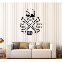 Vinyl Wall Stickers Pirate Skull and Bones Quote Alcohol Bar Decal Unique Gift (297ig)