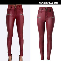Leather Women Slim High Waisted Button Trousers Pants _ 1155