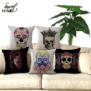 "Square 18""Cotton Linen Cushion Skull Art Printed For Sofa Decorative Throw Pillow Decor Couch"