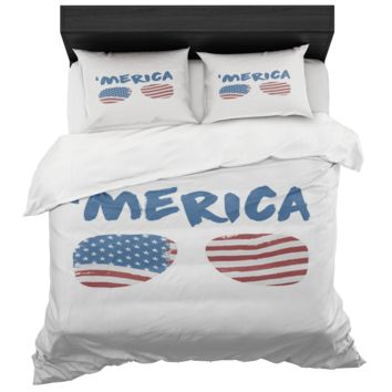 Merica Duvet Cover And 2 Standard Pillow Shams King And Queen Sizes Microfiber Fabric