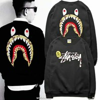 Stussy & Bape Aape Shark men's and women's new fashion hooded sweater F-YQ-ZLHJ