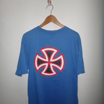 VIntage Independent Truck Company Skateboard Shirt NHS Made In USA Santa Cruz Blue