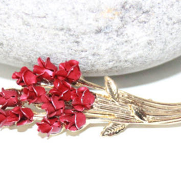 Red Rose Brooch, 1950 Brooch, Womans Vintage Jewelry, Antique Alchemy