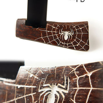 Smartphone Stand, a great gift for men with a spider simbol engraved in it. Wood iPhone Stand. Phone stand.