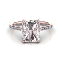 14K Rose Gold Emerald Cut Morganite Engagement Ring with Diamonds