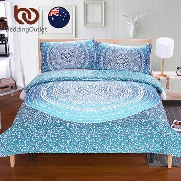 BeddingOutlet Luxury Boho Bedding Set Crystal Arrays Duvet Quilt Cover with Pillow Cases Blue Printed Soft Bedspread AU SIZE