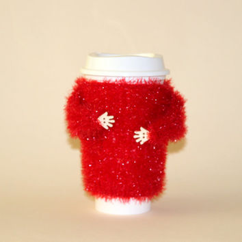 Valentines cup cozy. Gift for her. Travel mug sleeve. Funny mug cozy. Sparkle coffee warmer. Mug sweater. Coffee cozy. Red mug sweater