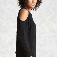 French Terry Open-Shoulder Top