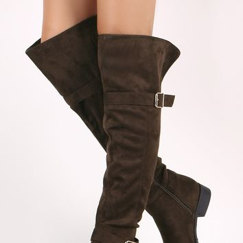 Vegan Suede Buckled Over-The-Knee Riding Boots