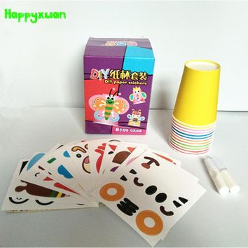 Happyxuan 12pcs/set DIY Paper Cup Craft Kits Kids Cartoon Animal Gift Box Creative Kindergarten Baby Educational Toys