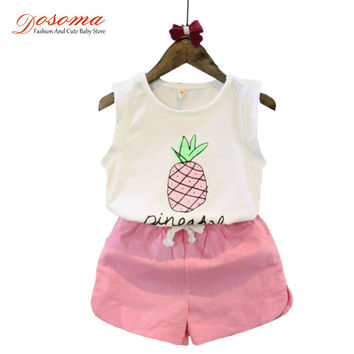 Girls summer sets 2016 style sleeveless pineapple printed t shirt + casual shorts two piece set children clothing kids tracksuit