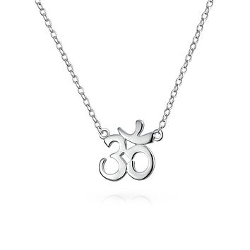 Aum Om Spiritual Pendant Necklace Rose Gold Plated Sterling Silver