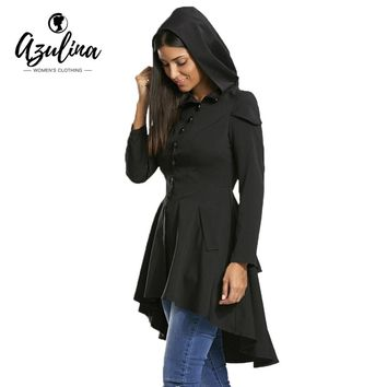 2017 New Fashion Autumn Coat Women Layered Lace Up High Low Hooded Coat Gothic High Waist Coats