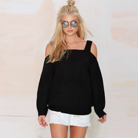 Cut-out Shoulder Ribbed Woolen Sweater