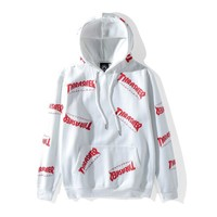 White Thrasher Hoodies w/red logo