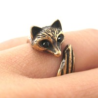 Fox Wolf Shaped Animal Wrap Around Ring in Sizes 5 and 6 | DOTOLY