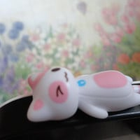 Cute White and Pink Cat laying Dust Plug - earphone plug
