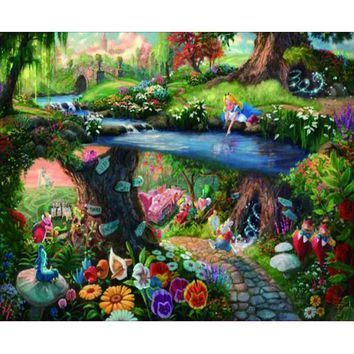 Full Square 5D diy hand made diamond embroidery painting exquisite stitch tool Alice in Wonderland picture home decor