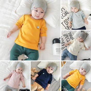 Baby Cotton T-shirts Fall Winter Warm Hoody Jumpers Jackets Boys Girls Coat Toddler Tees Tops Infants Shirt 1st Children ClotheS