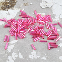 Pink Bugle Beads Loose - Tube - Barrel - 9mm - Jewellery and Craft Supplies - 25 pcs -  by DeeDeeSupplies Australian Seller