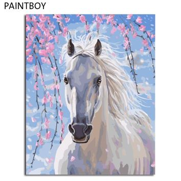 PAINTBOY Framed DIY Digital Oil Painting By Numbers Of Horses Painting&Calligraphy Home Decor Wall Art GX8528 40*50cm