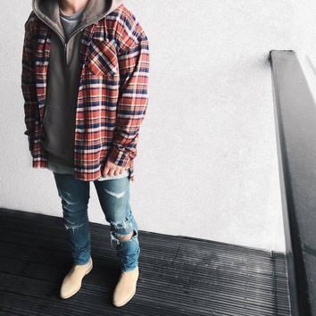 2017 US Hip Hop Most popular justin bieber fear of god fog Men unisex flannel Long-sleeved plaid oversized dress shirt in red