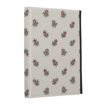 Vintage Pink Roses Floral Wallpaper Pattern iPad Folio Case