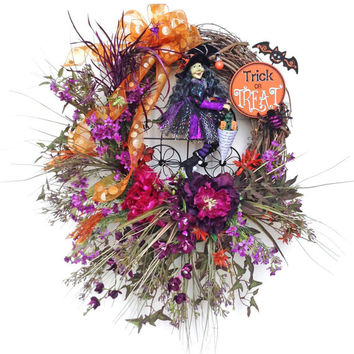Whimsical Witch Halloween Wreath