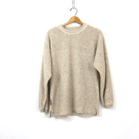 Off White Fleece Sweater Top Women's Fall Sweater Top Rugged Minimal Preppy Sweater Vintage Womens size Medium