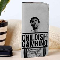 Childish Gambino | Singer | Music | custom wallet case for iphone 4/4s 5 5s 5c 6 6plus 7 case and samsung galaxy s3 s4 s5 s6 case
