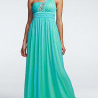 Strapless Satin and Tulle Color Block Prom Dress