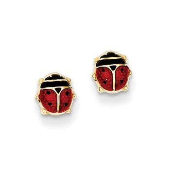 Kids 5mm Red Ladybug Post Earrings in 14k Yellow Gold and Enamel